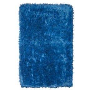 Dark Blue Rug Flokati Next to futon