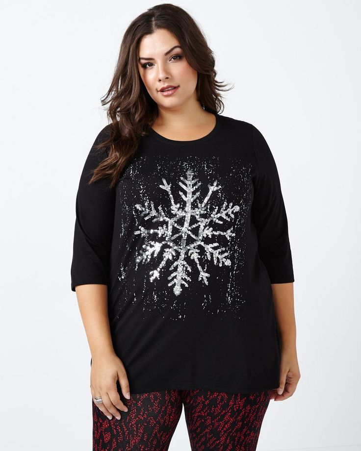 3/4 Sleeve Snowflake Print Top