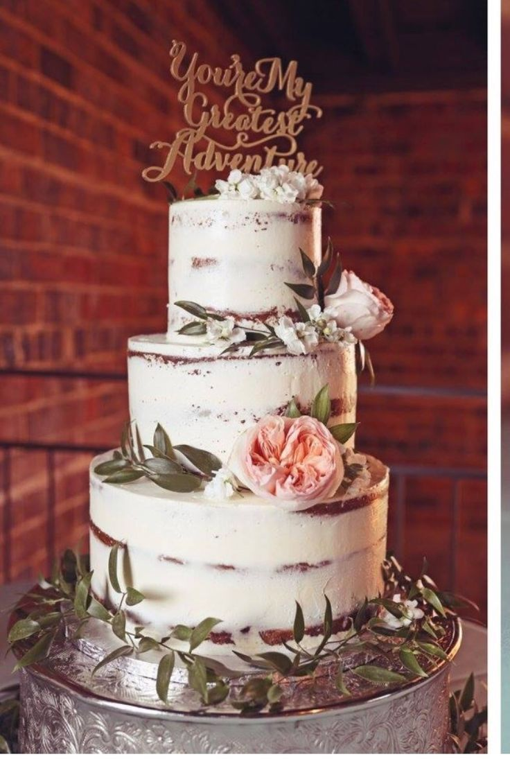 Ideas For A Sponge  Tier Naked Wedding Cake