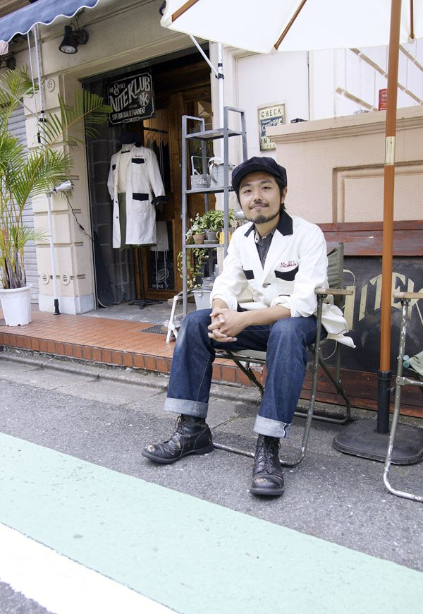 Japanese street-style, worn in denim with a pair of beaten up black boots and chore coat.