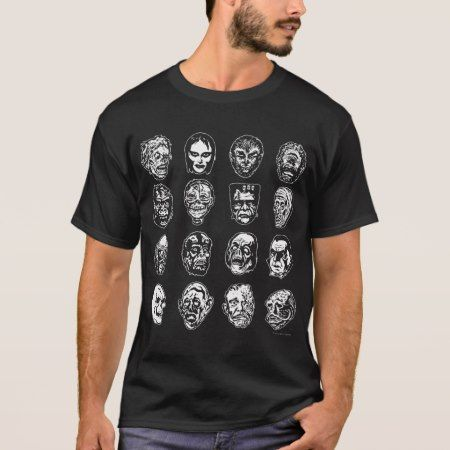 Horror Movie Monster Masks (b&w) T-Shirt - tap, personalize, buy right now!