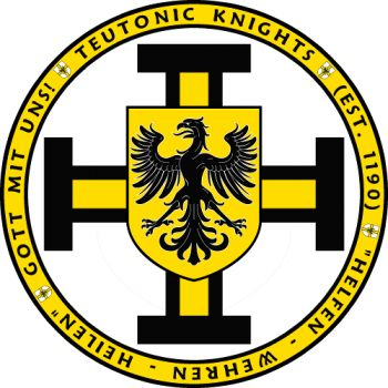 Features the image of the coats of arms of the Teutonic Knights along with an inscription of their establishment, their motto and their battle cry!