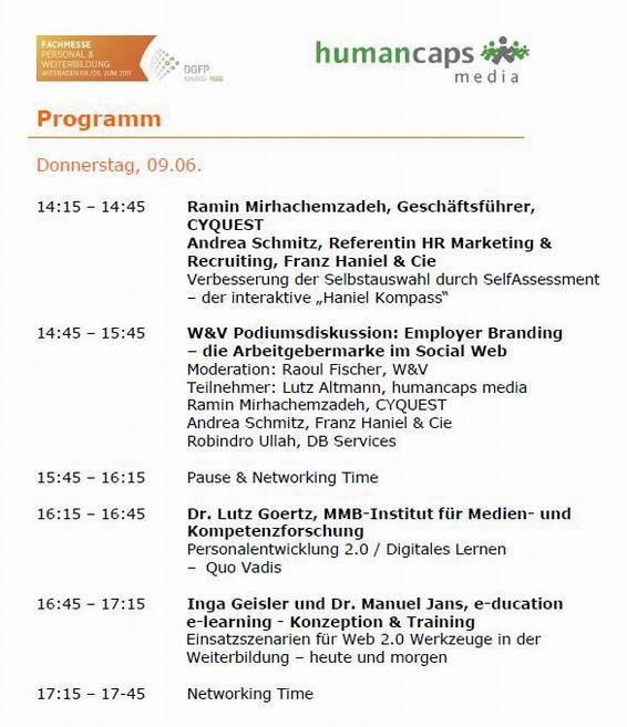 """DGFP Fachmesse """"Personal und Weiterbildung"""" 2011: Gemeinsam mit Cyquest entwickelte Self-Assessment zu den Haniel-Unternehmenswerten."""