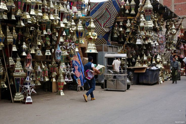 """CAIRO, EGYPT- An Egyptian vendor displays Traditional Lanterns known as """"Fanous"""" in Arabic at a market ahead of the Muslim holy month of Ramadan. In Egypt, streets are lines with lamps, decorated with lights that welcome the month of Ramdan in a celebratory manner"""