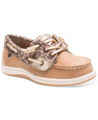 Sperry Little Girls' or Toddler Girls' Cheetah Songfish Jr. Boat Shoes