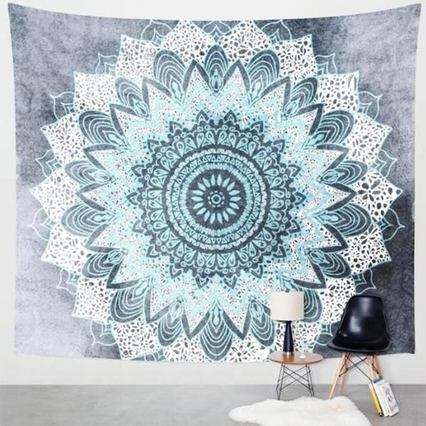 Serene tapestry for maximum relaxation. Mint mandala peeks through for simple decoration. Transform any space with a bold centerpiece print. #tapestry #art #decor