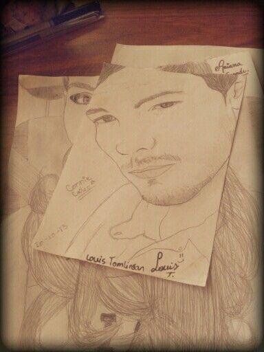 Dibujo de Louis Tomlinson de One Direction hecho por mi. #OneDirectionDrawing