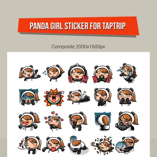 Create a single character set of 20 action/emotion stickers for a social network app