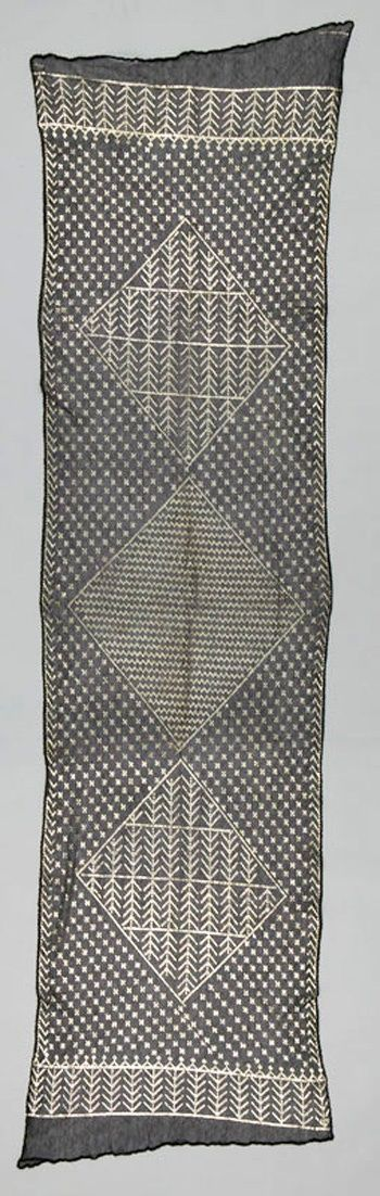 Africa | Shawl from Asyut, Upper Egypt | ca. 1900 - 1930 | Netted cotton and silver.