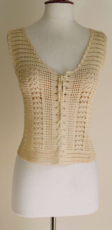 Vintage crochet lace-up corset vest