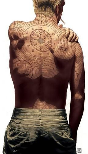 """... El dia que me haga un tatuaje, será como este ...  John Constantine """"Hellblazer"""" dibujado por Brian Azzarello. Este personaje de comic también dará el salto al cine en breve, inexplicablemente interpretado por Keanu Reeves (no se me ocurre a nadie menos parecido al rubio, cínico y británico personaje). En fin, veremos si es algo potable, o """"El Abogado del Diablo 2: La reencarnación"""" M&aacute"""