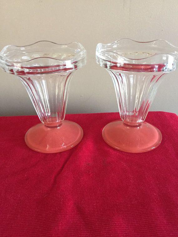 Ice Cream Sundae Glasses Peach Bottom Made in France Vintage