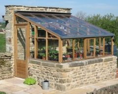 Lean-to Greenhouses When your garden has a high wall, why not utiliz.