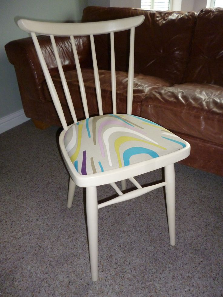 Mid century stick back chair repainted and covered in bright fabric