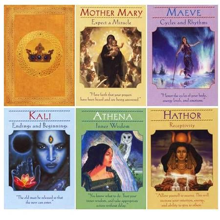 Doreen Virtue - Goddess Oracle cards. I mixed these into my Oracle Tarot. By themselves, they are too bright & cheery for me, even the dark goddesses.