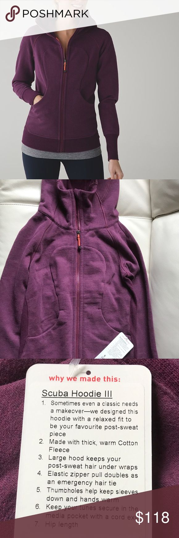 NWT HEATHERED RED GRAPE LULULEMON SCUBA HOODIE III Brand: Lululemon Athletica Scuba hoodie III        Condition: New with tag || Size 4 || Heathered red grape. Stock photo shows accurate color!   🚩NO TRADES  🚩NO LOWBALL OFFERS  🚩NO RUDE COMMENTS  🚩NO MODELING  ☀️Please don't discuss prices in the comment box. Make a reasonable offer and I'll either counter, accept or decline.   I will try to respond to all inquiries in a timely manner. Please check out the rest of my closet, I have…