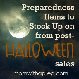 A list of items you can get cheaply in post halloween sales that can help in your preparedness! |  Mom with a Prep