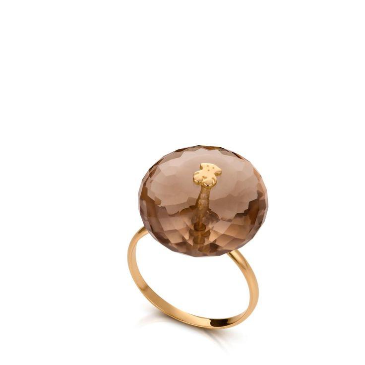 Złoty pierścionek z kwarcem dymnym Tous Boton