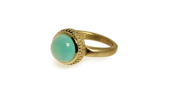 Ring, 18krt geelgoud/chalcedoon