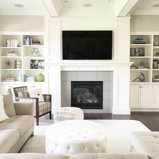 Living Room Fireplace Built In Neutral Decorating Ideas