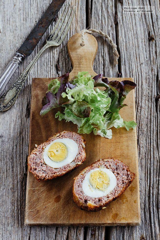Receta de los Huevos a la escocesa. Receta con fotografías del paso a paso y recomendaciones de degustación. Recetas de huevos. Recetas de carne de cerdo