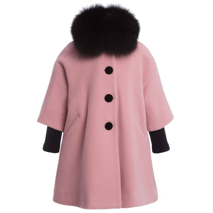 Quis Quis Girls Pink Swing Coat with Fur Collar at Childrensalon.com