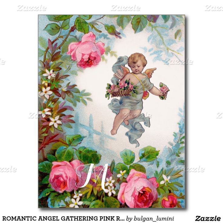 ROMANTIC ANGEL GATHERING PINK ROSES AND FLOWERS POSTCARD