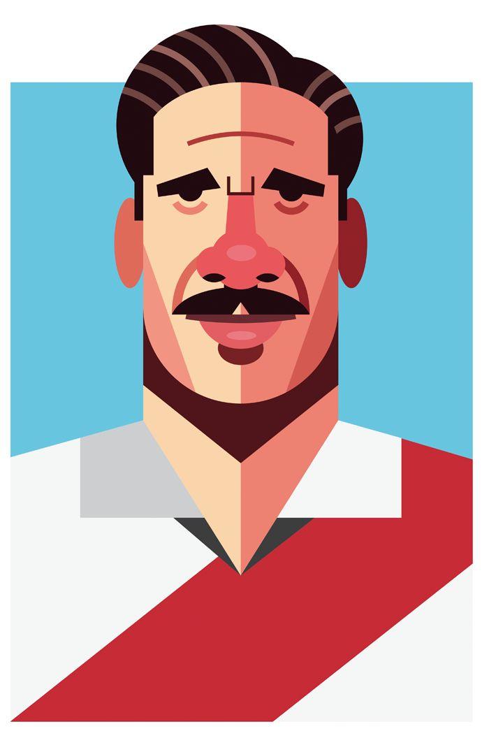 José Manuel Moreno, River Plate   Football Players Vector Illustrations by Daniel Nyari.