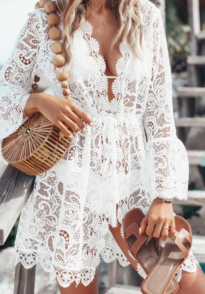 Women S Bathing Suit Cover Up Lace Crochet Pool Swim Beach Dress In 2020 Beach Coverup Dress Vacation Dresses Dresses