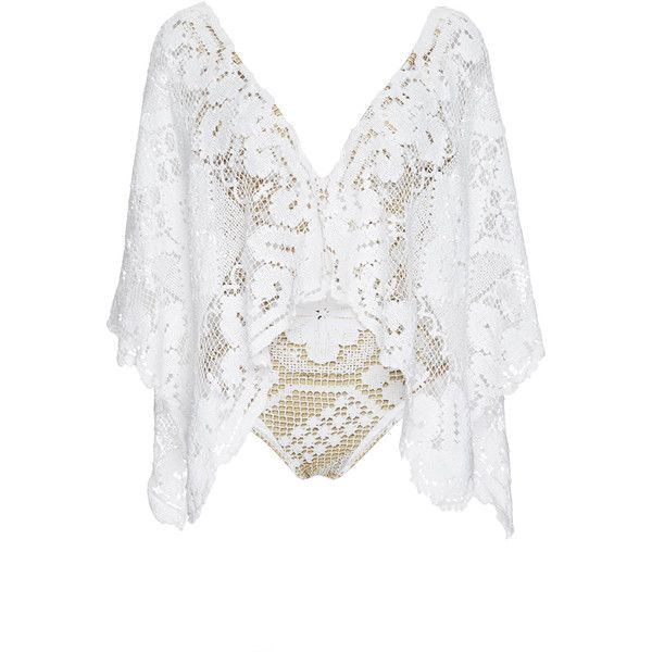 Agua de Coco Ceara Crochet Batwing Maillot ($1,285) ❤ liked on Polyvore featuring tops, batwing top, white batwing top, drape top, macrame top and white drape top