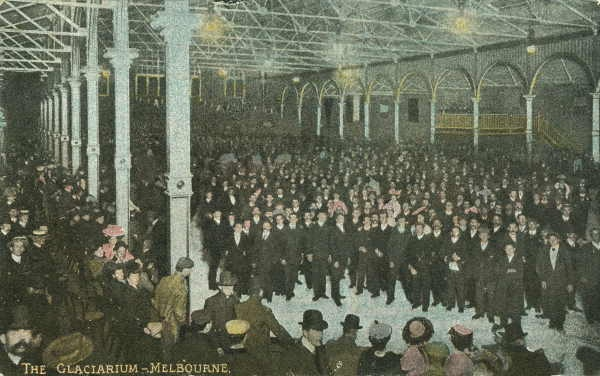 The Glaciarium, 1907. The large ice skating rink was built on the site of Arts Centre Melbourne. Patrons could race, play ice hockey, watch films during the summer months or waltz to the music of the Glaciarium's own orchestra.