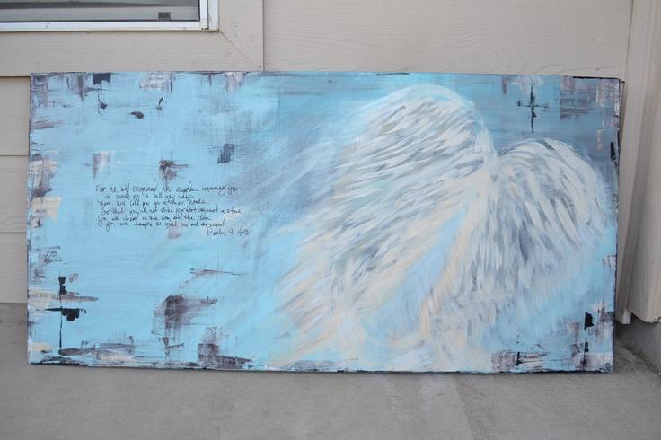 Psalm 91: 11-13 Angel Painting. $199.00, via Etsy.