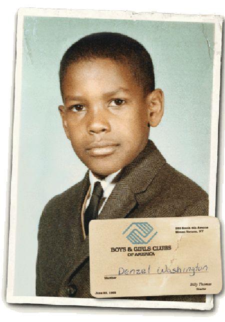 a young Denzel Washington and his Boys & Girls Club membership card