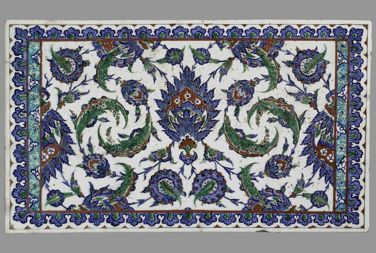 Tile Panel with Decoration of Composite Flowers and Serrated Leaves | Harvard Art Museums