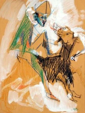 Bernard LORJOU (1908-1986) Larlequin et la chèvre, 1956. Gouache et crayon gras. Signé et daté en bas à droite. 64 x 48 cm. Provenance: Vente Versailles, 1973 - 3,800 euros  Private viewing by appointment in Saint Germain, Paris. Email parisart@kerdos.com