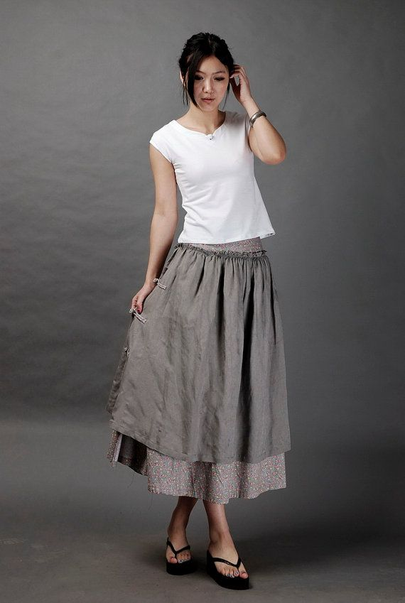 Floral design linen grey skirtmore colour and size by thesimpson gathered overskirt (attached below waist) with knot tie closure on side.
