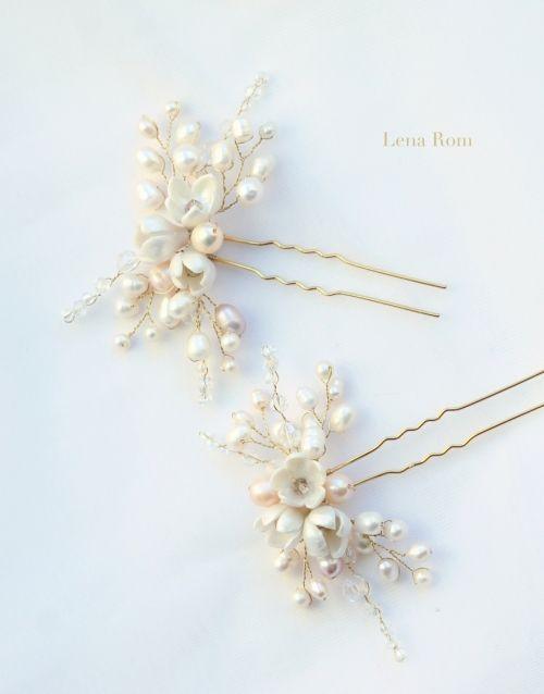 horquillas de novia / bridal hair pins | Lena Rom