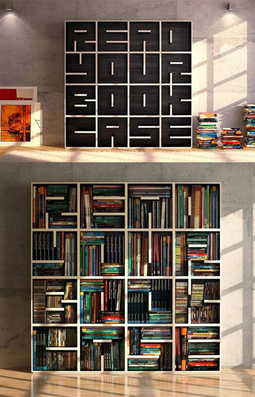 """The phrase """"read your..."""" is integrated into this custom bookcase in a fun graphic way.  Completely creative!"""