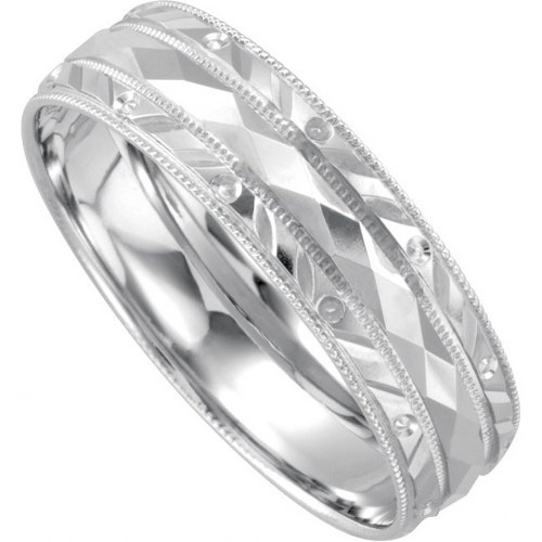 14K White Gold Men's Wedding Band.    http://www.thediamondstore.com/products/men's-wedding-rings/14k-white-gold-mens-wedding-band/7-909