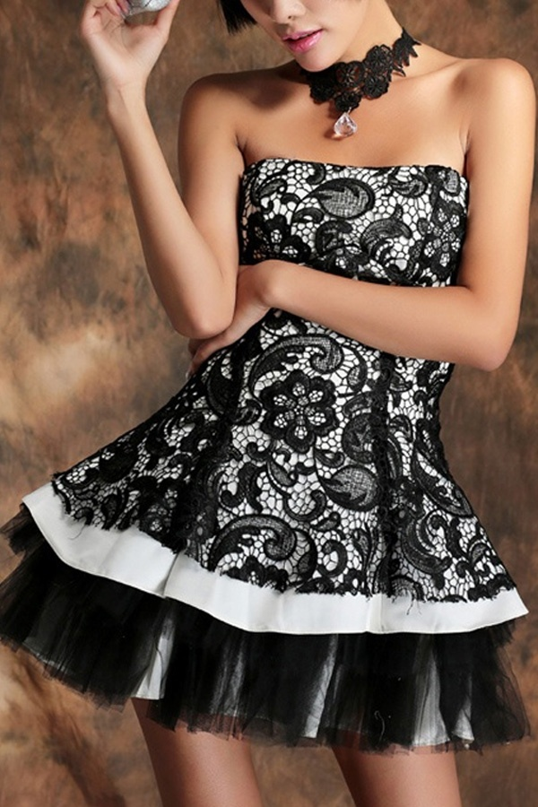 Strapless Fit and Flared Lace Party Dress - OASAP.com