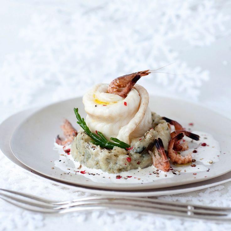 Découvrez la recette Filet de sole aux crevettes grises, purée de salicorne au champagne sur cuisineactuelle.fr.