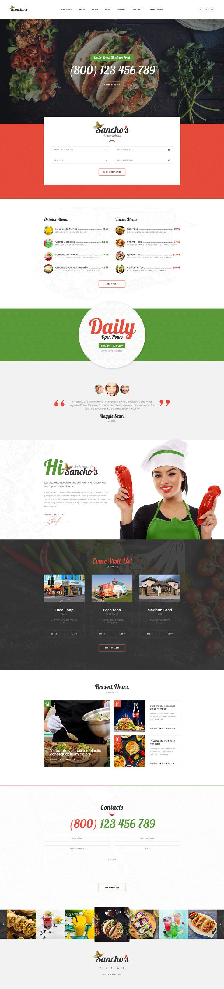 Sancho's - Mexican Food Restaurant and Delivery Service PSD Template #catering #coffee #dining • Download ➝ https://themeforest.net/item/sanchos-mexican-food-restaurant-and-delivery-service-psd-template/19838121?ref=pxcr