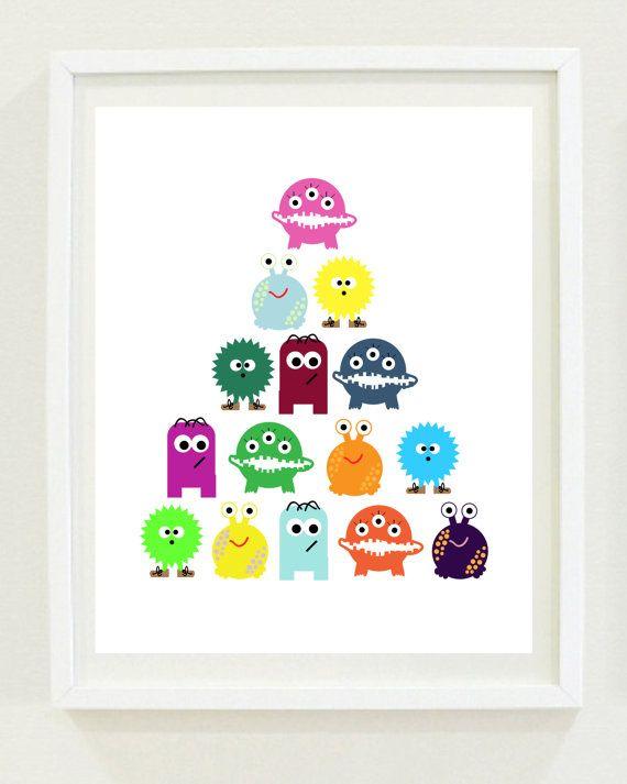 Nursery Print: Little Monsters Boys Room Kids by MKKMDesigns