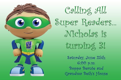 Sister-Dipity: Super Why Birthday Party