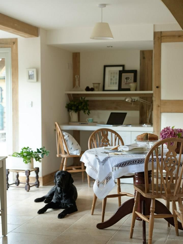 Border Oak - Office nook tucked away in the kitchen/dining room of a cottage.