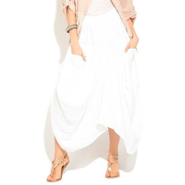 100% LIN White Asymmetrical Linen Maxi Skirt (1,120 MXN) ❤ liked on Polyvore featuring skirts, asymmetrical long skirt, long white maxi skirt, patterned maxi skirt, white linen skirt and white skirt