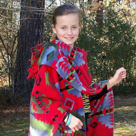 Girl's or Petite Woman's Southwestern Cody Red Design Anti Pill Fleece Wrap or Shawl