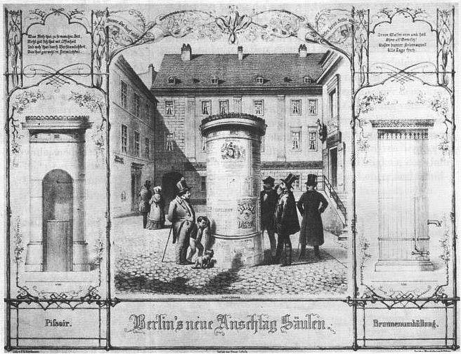 1855 Berlins erste Anschlagsaeule im Hof der Litfassschen Druckerei in der Adlerstrasse