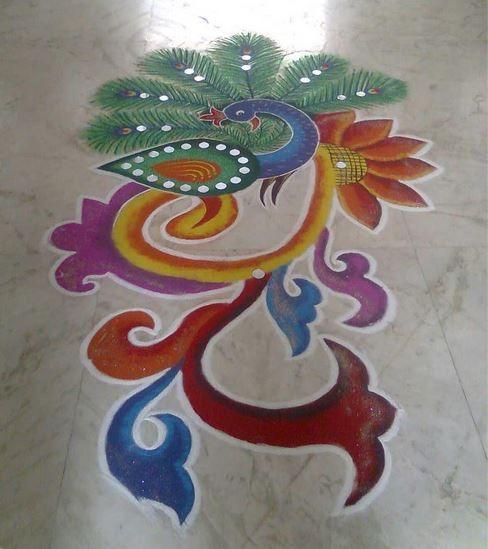 Peacock Rangoli Designs for New Year
