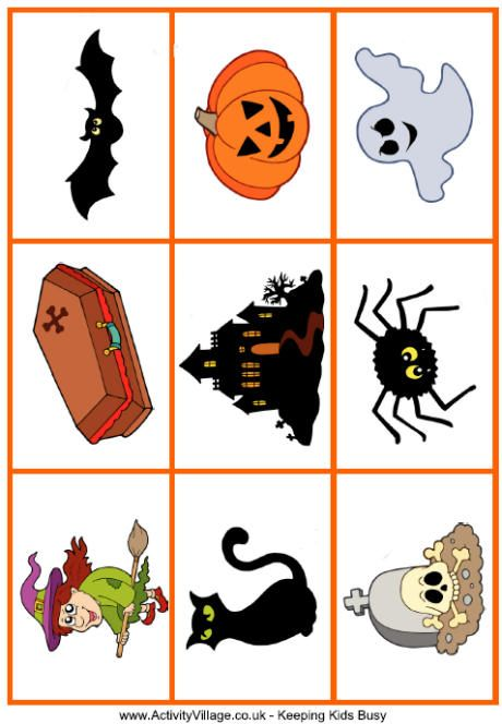 Halloween Matching Game  A fun, colourful Halloween matching game that you can print and enjoy with the kids. Many variations possible - we've got ideas here:  Ideas for using our printable games cards